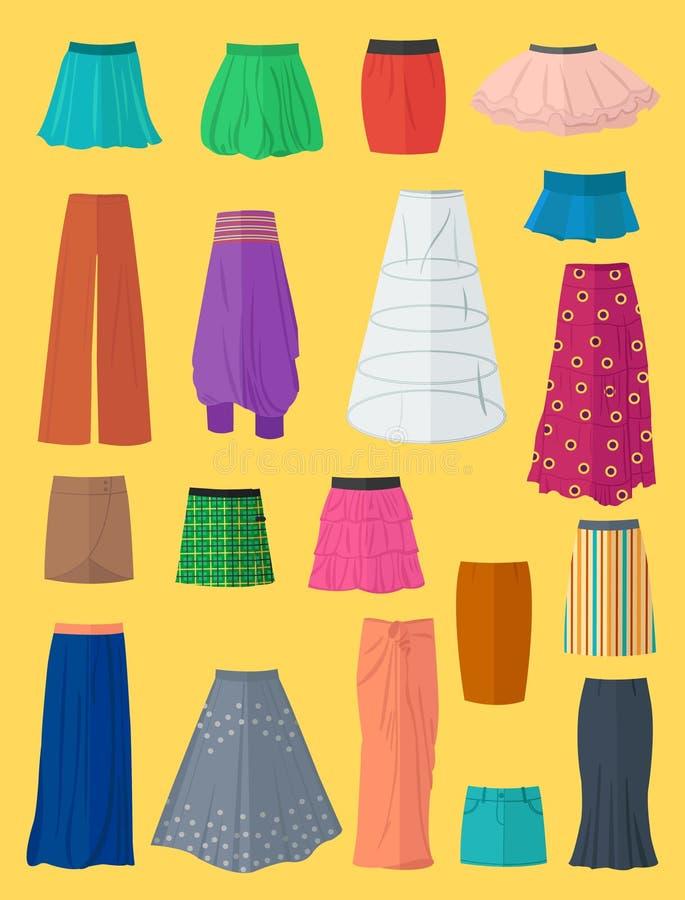 Uma coleção diversa das saias ilustração do vetor