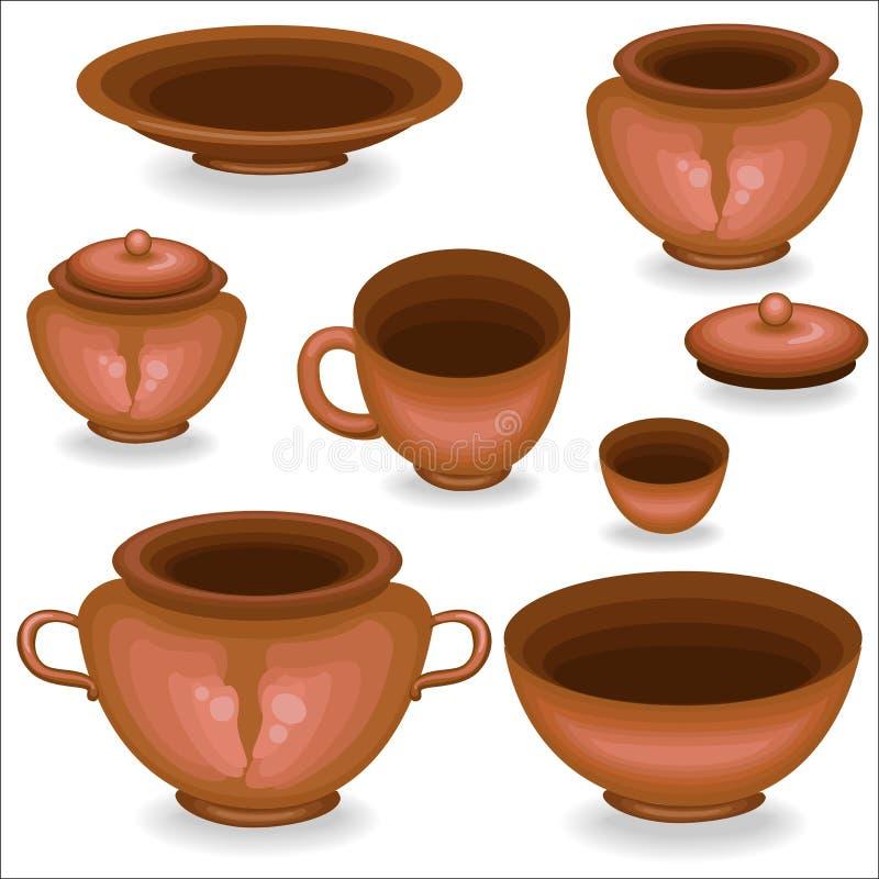Uma coleção do kitchenware da argila Um potenciômetro, um copo, uma bacia, um prato é necessário na cozinha Cozinham o alimento n ilustração royalty free