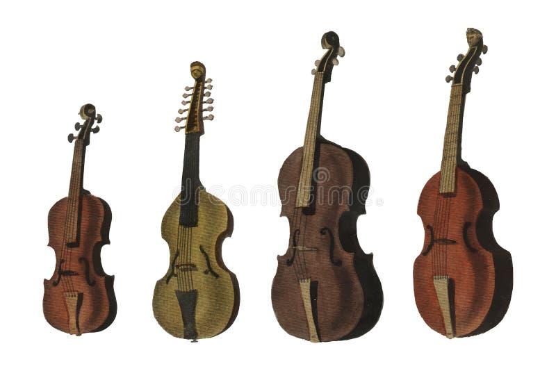 Uma coleção do violino, da viola, do violoncelo e de mais antigos da enciclopédia Londinensis ilustração stock