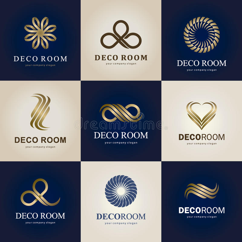 Uma coleção dos logotipos para o interior, os artigos da decoração e a decoração home Vetor ilustração stock