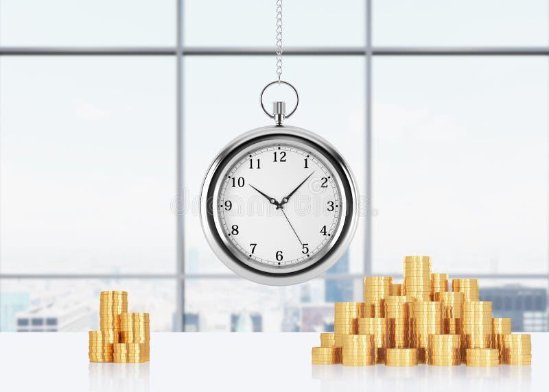 Uma composição de moedas douradas e da suspensão no relógio de bolso chain Escritório panorâmico de New York no fundo Um conceito foto de stock