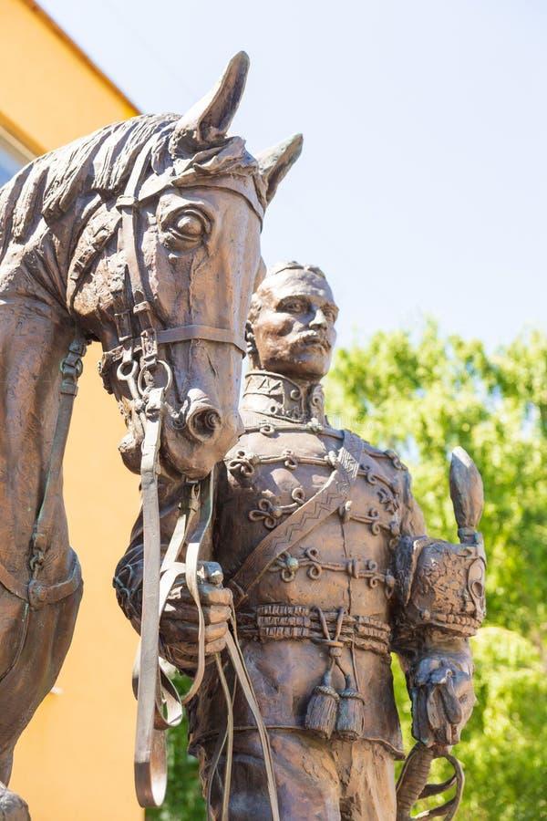 Uma composição escultural dedicada à memória dos hussardos e dos oficiais de 5a Alexandria Regiment, hussardos pretos fotos de stock royalty free