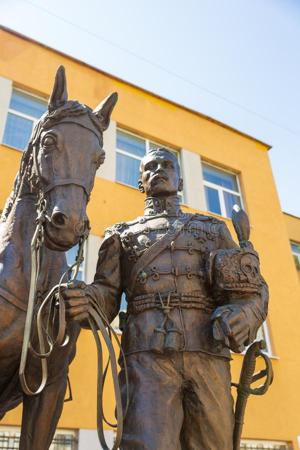 Uma composição escultural dedicada à memória dos hussardos e dos oficiais de 5a Alexandria Regiment, hussardos pretos foto de stock royalty free