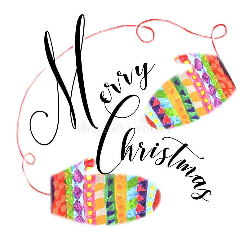 Uma composição que caracteriza o Feliz Natal e as luvas brilhantes do inverno ilustração royalty free