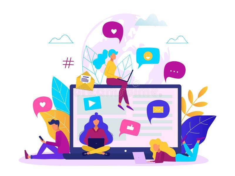 Uma comunicação através do conceito do Internet Trabalhos em rede sociais, ilustração de conversa do vetor ilustração do vetor