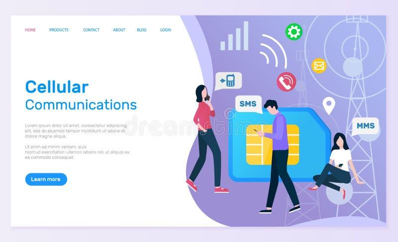 Uma comunicação celular dos povos com os Smartphones ilustração stock