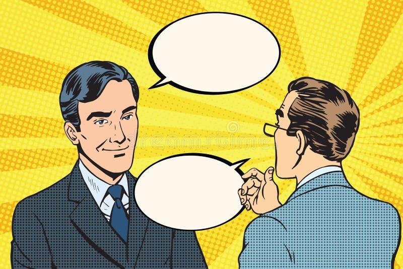 Uma comunicação da conversação do diálogo de dois homens de negócios ilustração royalty free