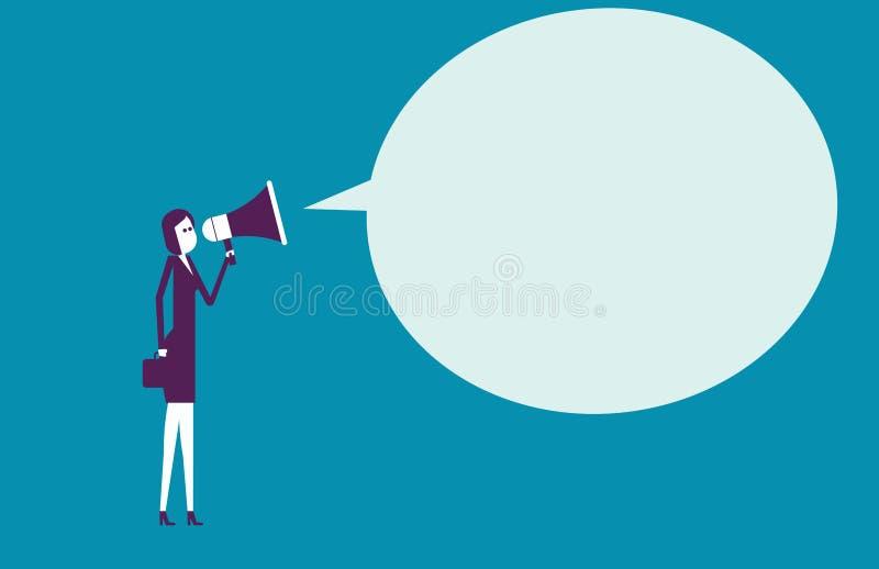 Uma comunicação da mulher de negócios através do megafone Illustrati do vetor ilustração royalty free