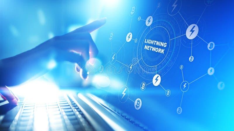 Uma comunicação da rede do relâmpago na tecnologia do cryptocurrency Bitcoin e conceito do pagamento do Internet na tela virtual ilustração stock