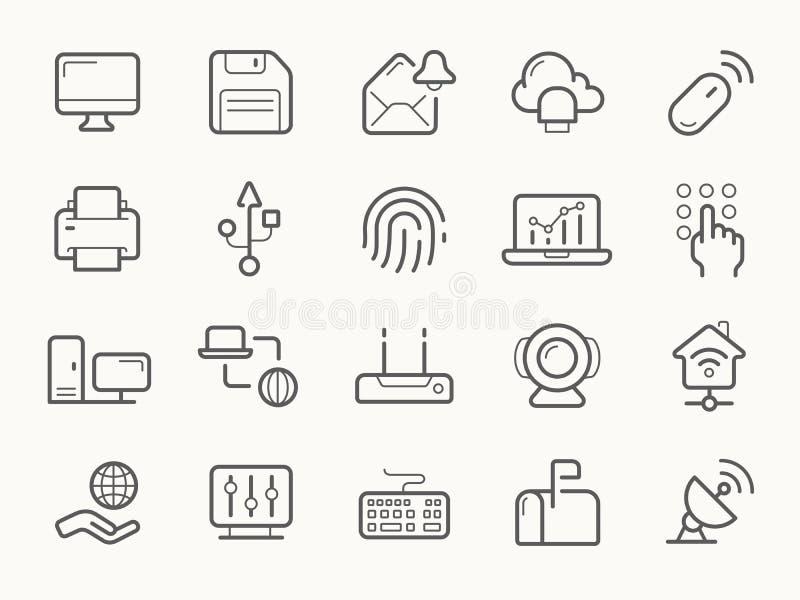 Uma comunicação da rede e linha ícones da eletrônica ilustração stock