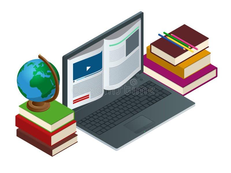 Uma comunicação da TI ou ensino eletrónico ou Internet como o conceito da base de conhecimento Ilustração lisa da tecnologia da e ilustração royalty free