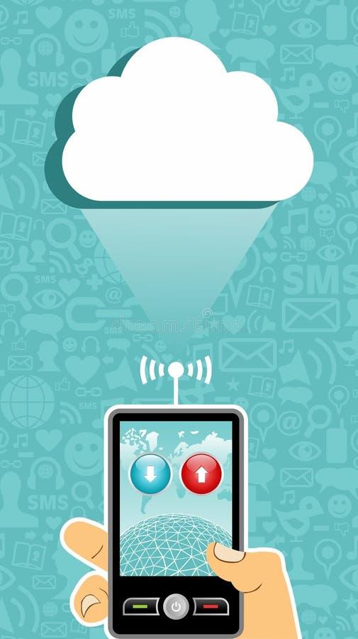 Uma comunicação de computação da nuvem. ilustração stock
