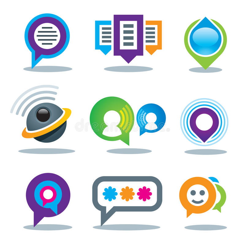 Uma comunicação de povos sociais em meios da comunidade do logotipo do mundo e em serviço de Internet ilustração stock