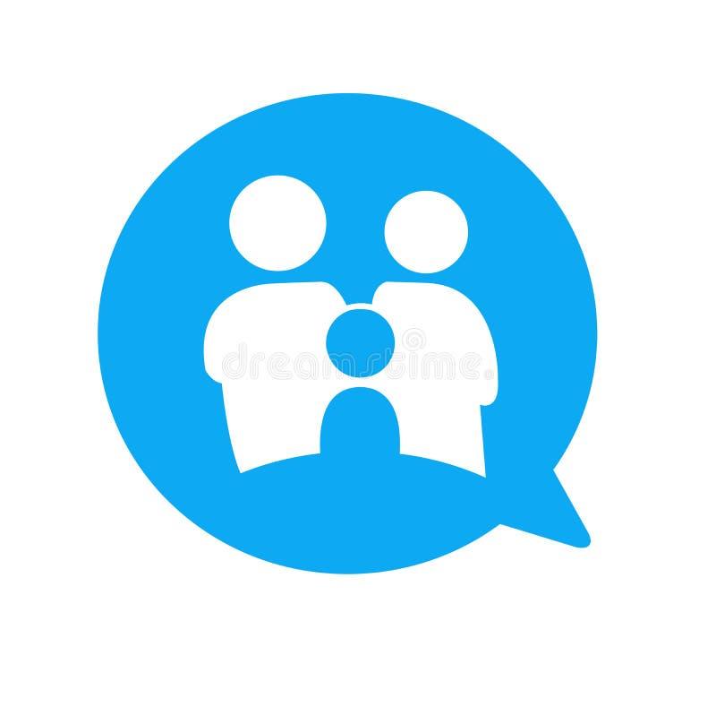 Uma comunicação do ícone do bate-papo da família ilustração do vetor