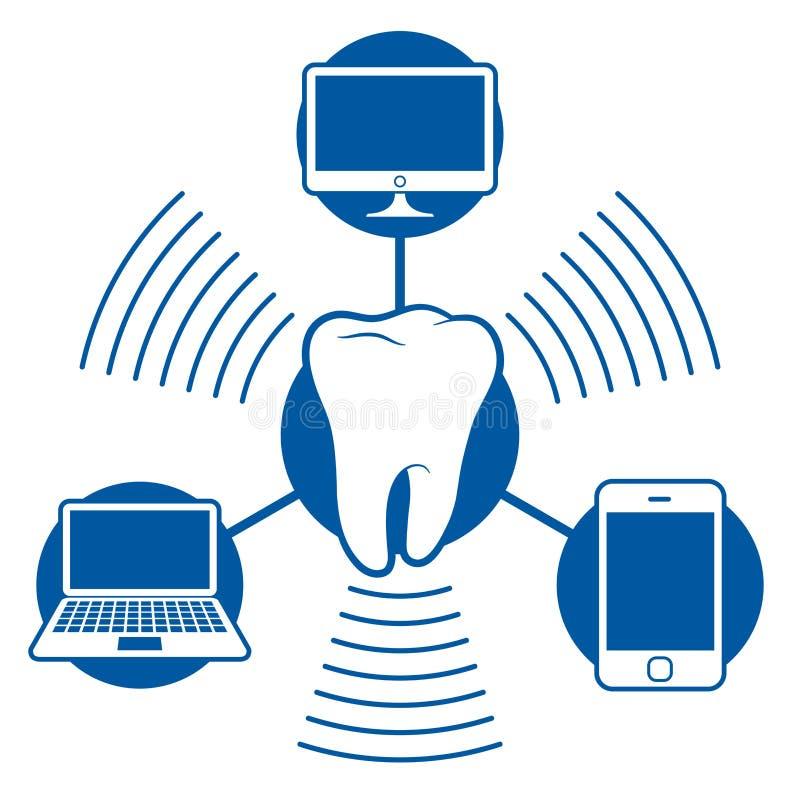 Uma comunicação do ícone de Bluetooth com o computador não ilustração stock