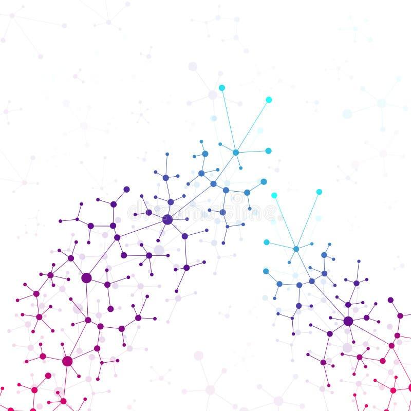 Uma comunicação do fundo da ciência e da tecnologia Linhas conectadas com pontos Ilustração moderna ilustração do vetor