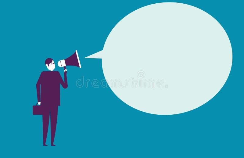 Uma comunicação do homem de negócios através do megafone Ilustração do vetor ilustração do vetor