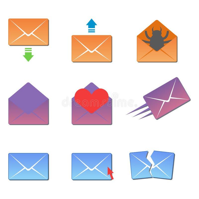 Uma comunicação dos ícones da tampa do envelope do email e o endereço de tampa vazia da correspondência do escritório projetam o  ilustração do vetor