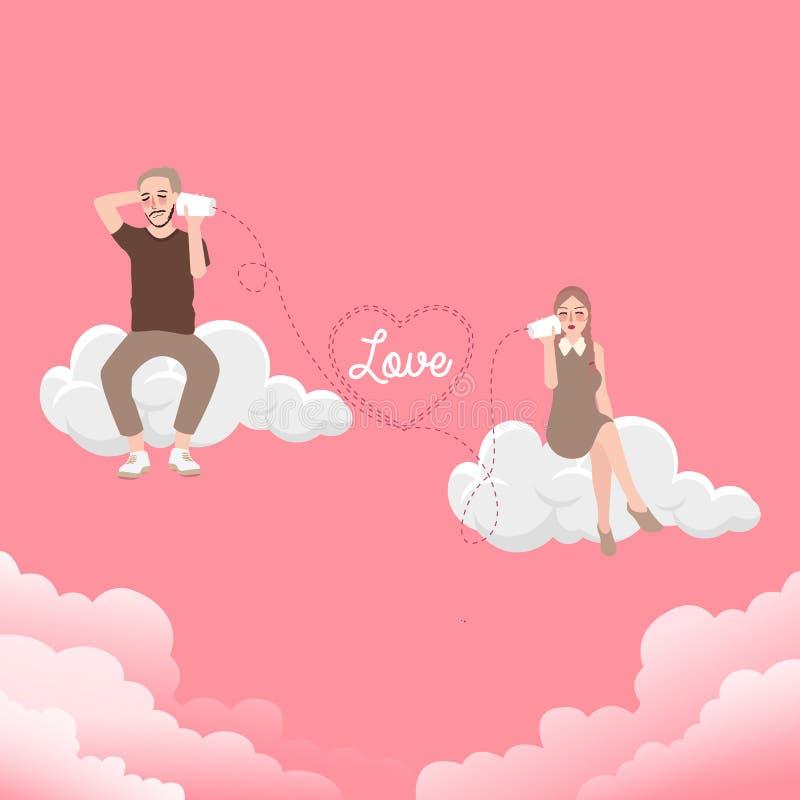 Uma comunicação dos pares de línguas do diálogo do amor na nuvem ilustração royalty free