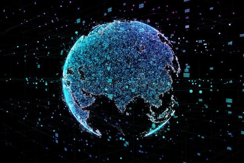 Uma comunicação dos povos em uma rede social sem limites Linhas da conexão em torno do globo da terra O conceito de ilustração do vetor