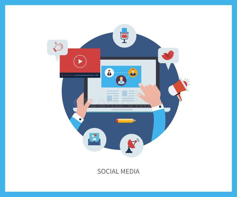 Uma comunicação e meios sociais ilustração do vetor