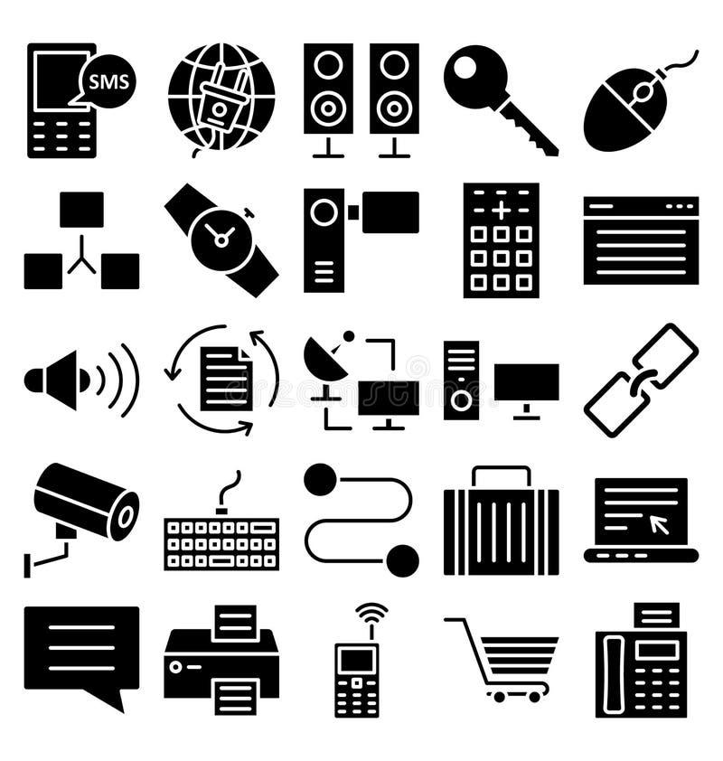 Uma comunicação e os dispositivos de Digitas isolaram o grupo dos ícones do vetor que pode facilmente ser alterado ou editado ilustração royalty free