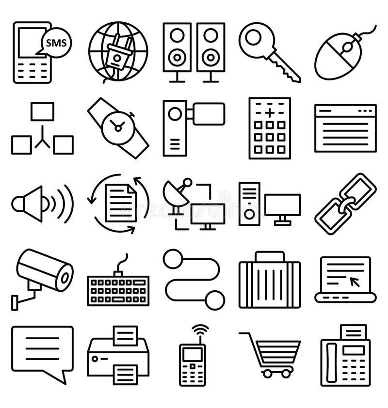 Uma comunicação e os dispositivos de Digitas isolaram o grupo dos ícones do vetor que pode facilmente ser alterado ou editado ilustração stock