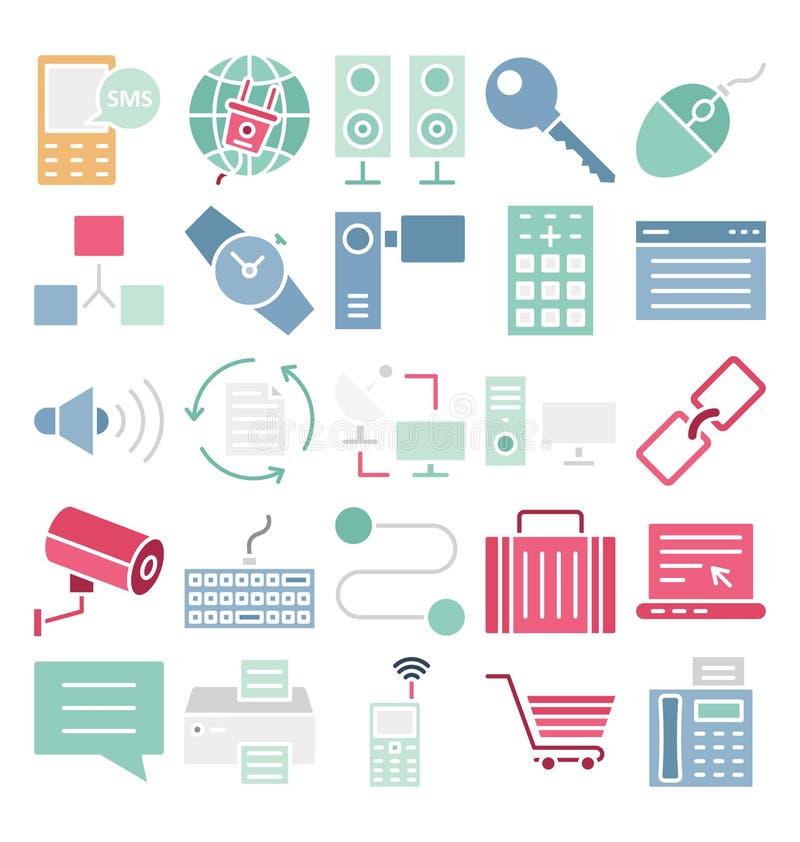 Uma comunicação e os dispositivos de Digitas isolaram o grupo dos ícones do vetor que pode facilmente ser alterado ou editado ilustração do vetor