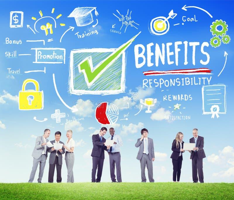Uma comunicação empresarial Conce da renda do salário do lucro do ganho dos benefícios foto de stock royalty free