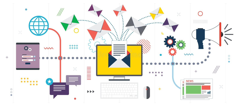Uma comunicação empresarial e mercado, mercado do e-mail ilustração stock