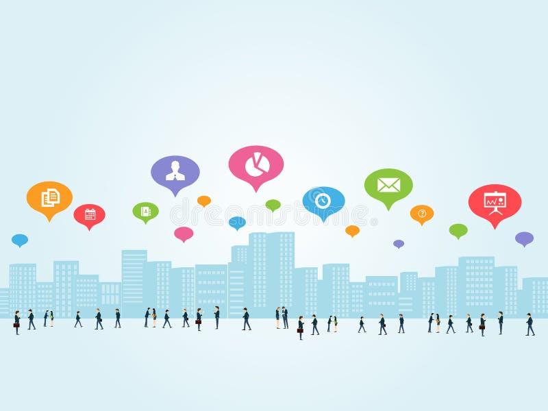 Uma comunicação empresarial social ilustração stock