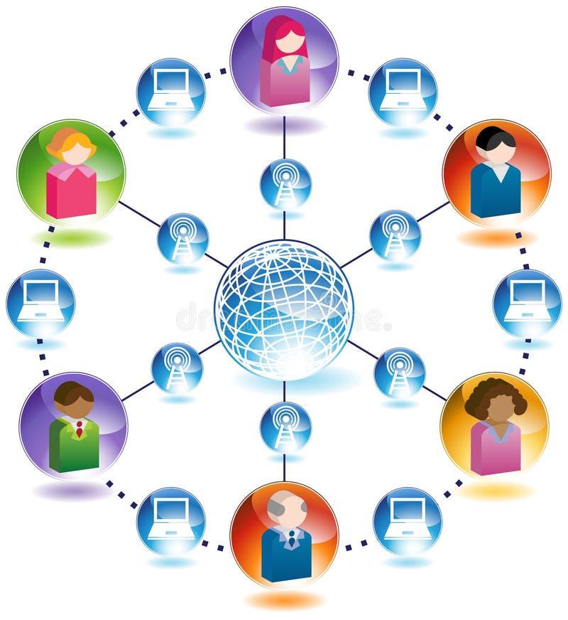 Uma comunicação global entre povos em computadores ilustração do vetor