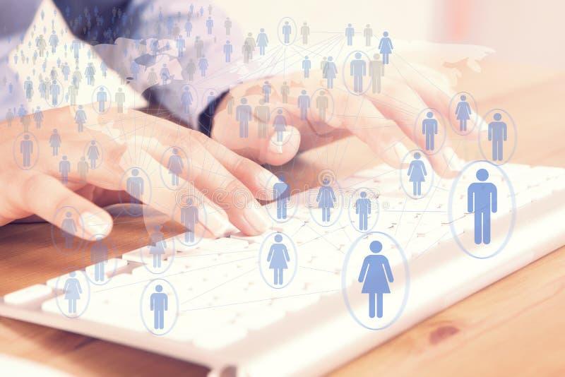 Uma comunicação global social imagens de stock