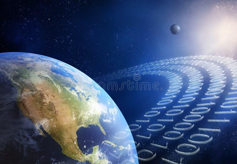 Uma comunicação global/transmissão de dados  ilustração do vetor