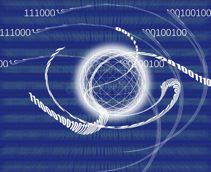Uma comunicação global/transmissão de dados - código binário feito ilustração stock