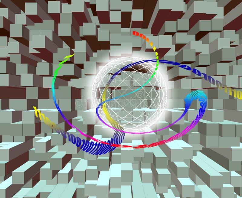 Uma comunicação global/transmissão de dados - código binário feito ilustração do vetor