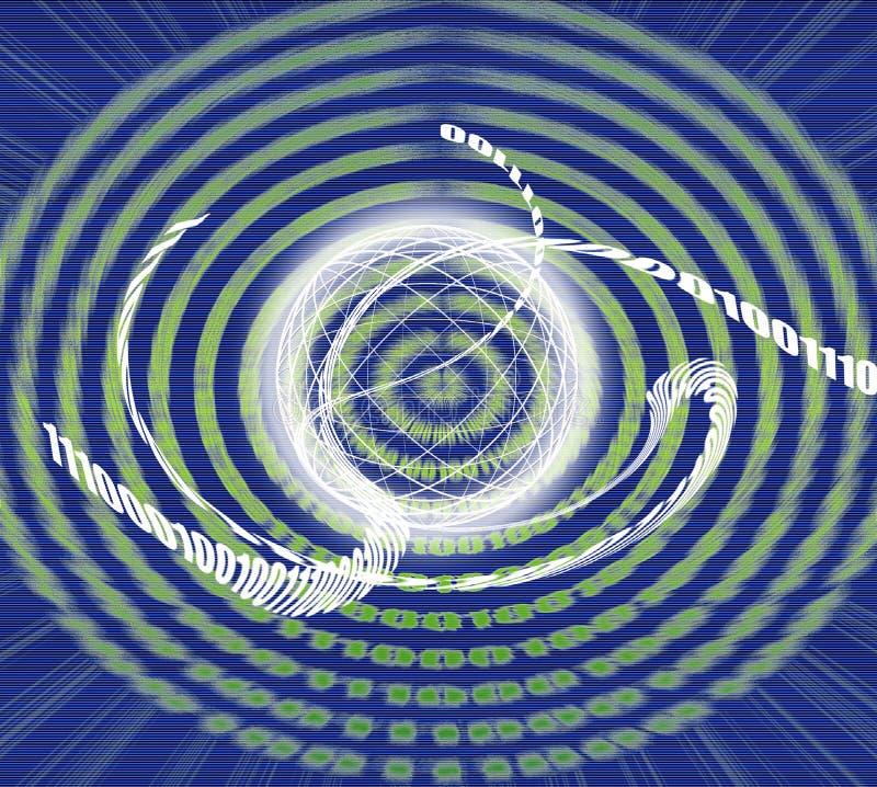 Uma comunicação global/transmissão de dados - código binário feito ilustração royalty free