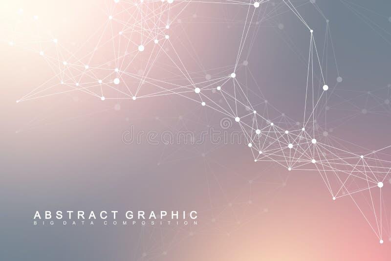 Uma comunicação gráfica geométrica do fundo Conexões de rede global Complexo de Wireframe com compostos perspective ilustração stock