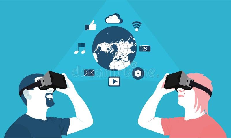 Uma comunicação interurbana, realidade virtual ilustração royalty free