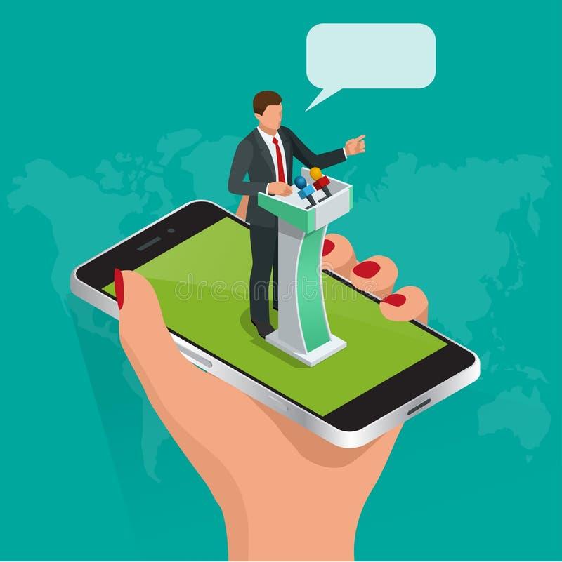 Uma comunicação isométrica do Internet do conceito, educação webinar do treinamento em linha, leituras em linha profissionais Est ilustração do vetor