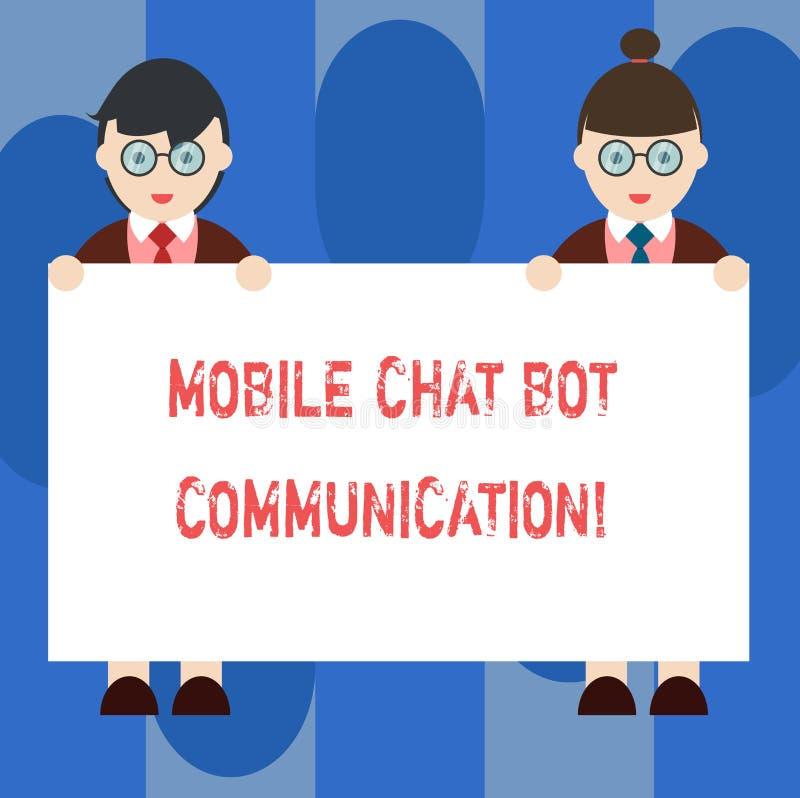 Uma comunicação móvel do bot do bate-papo do texto da escrita Homem e fêmea do serviço de Digitas da inteligência artificial do s ilustração stock