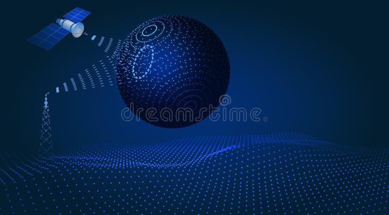 Uma comunica??o, navega??o, controle sat?lite, projeto do hud, holograma do globo Ilustra??o ilustração stock