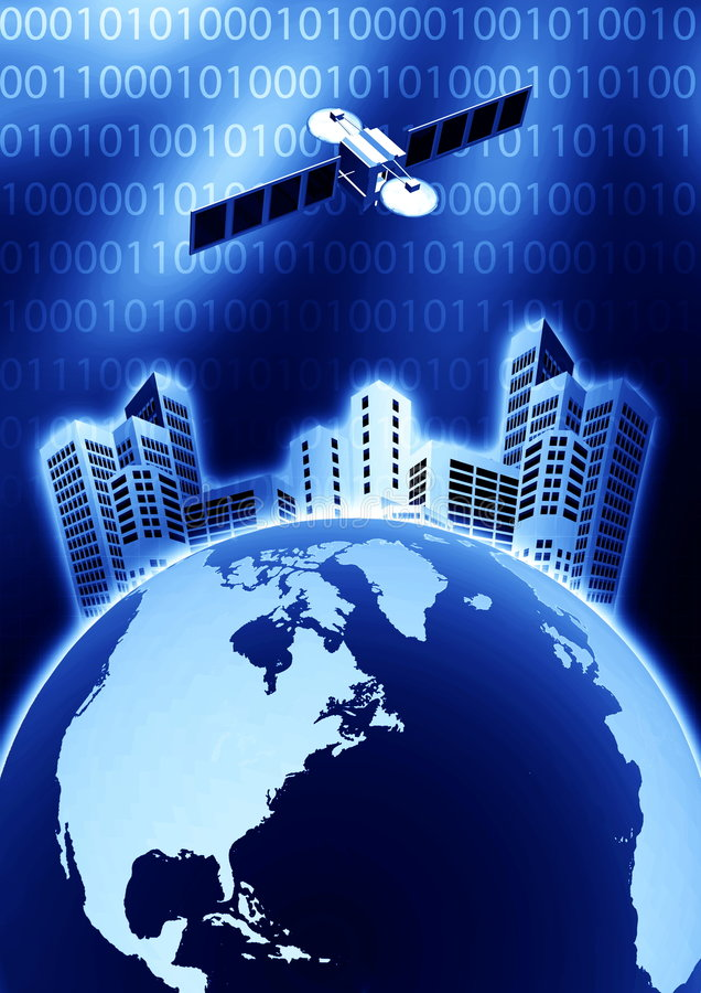 Uma comunicação satélite ilustração do vetor