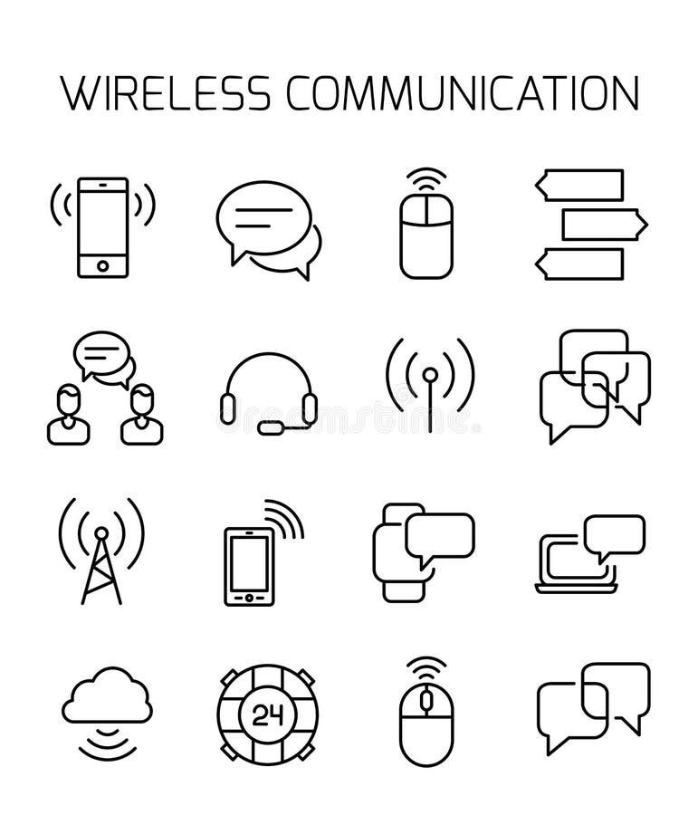 Uma comunicação sem fio relacionou o grupo do ícone do vetor ilustração stock