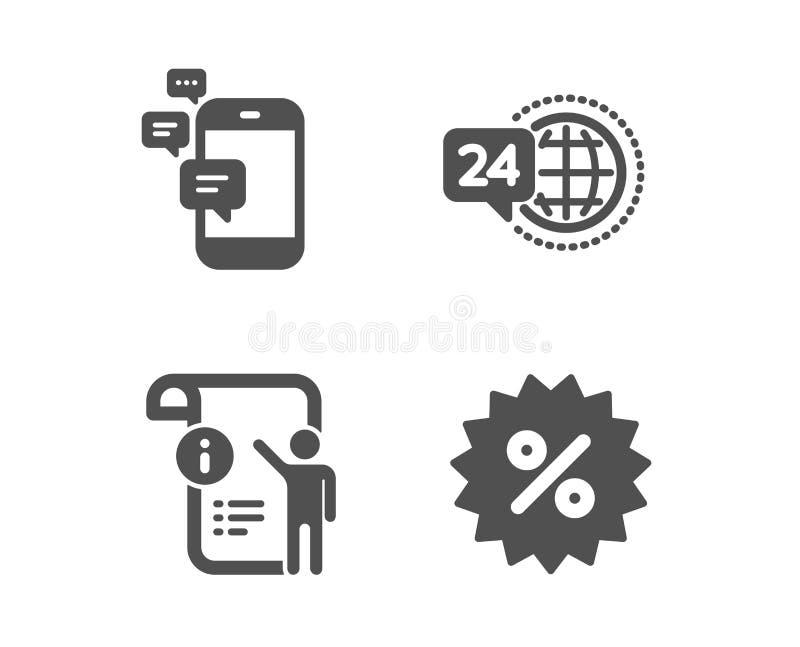Uma comunicação, serviço 24h e de doc do manual ícones Sinal do disconto Vetor ilustração stock