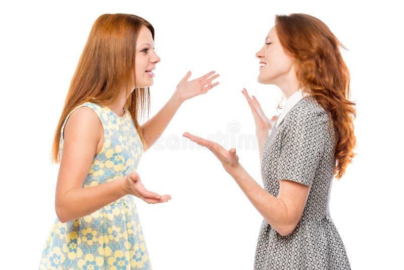 Uma comunicação verbal da mulher emocional imagens de stock