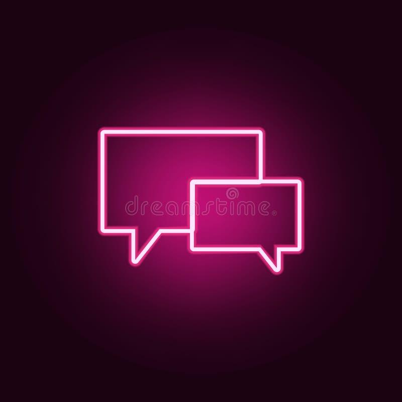 uma comunica??o borbulha ?cone Elementos da Web nos ?cones de n?on do estilo ?cone simples para Web site, design web, app m?vel,  ilustração do vetor