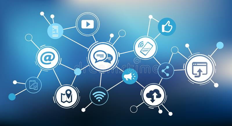 Uma comunica??o m?vel/desafios sociais do mercado dos meios projeta - a ilustra??o do vetor ilustração do vetor