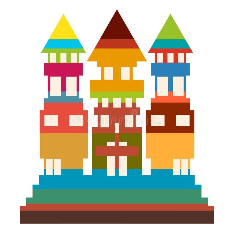 Uma construção alta colorida com três telhados e muitas janelas ilustração stock