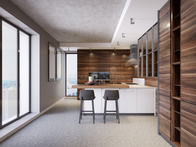 Uma cozinha com uma ilha de cozinha com duas cadeiras em uma cozinha moderna, o estilo da mobília contemporânea e moderna da cozi ilustração stock